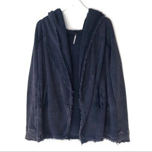 FREE PEOPLE. Blue Slouchy waffle knit sweater.
